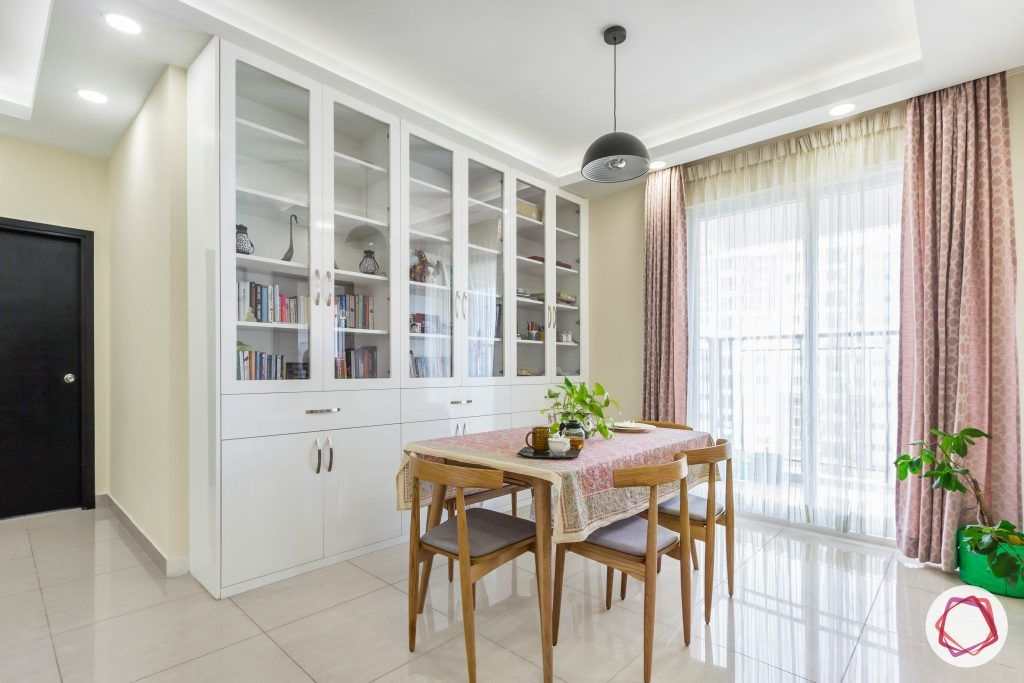 minimalism-minimal decor-bookshelf designs-4-seater dining set-white cabinet designs
