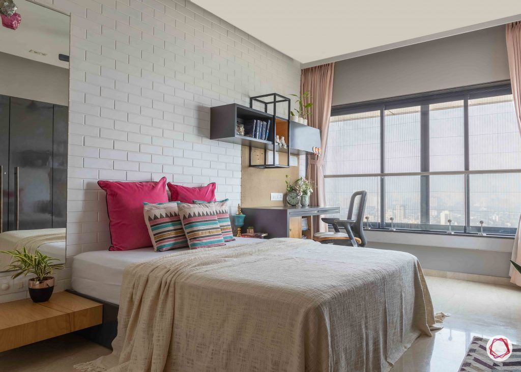 minimalism-minimal decor-white bedroom decor-white exposed brick wall-floating shelves