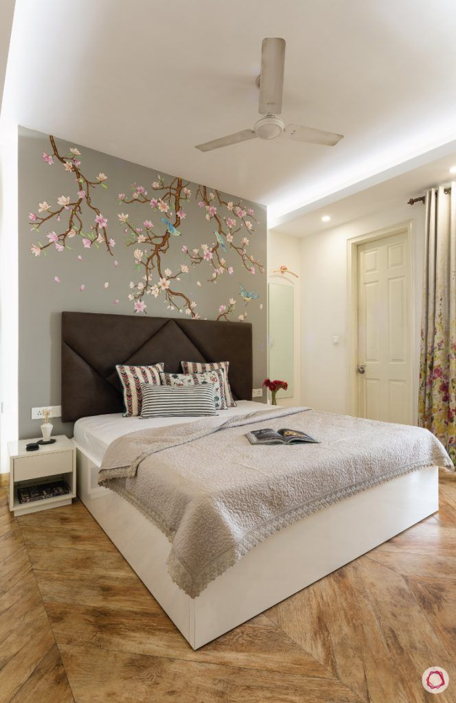 flat-in-faridabad-master-bedroom-accent-wall-grey-headboard-side-table-wooden-flooring