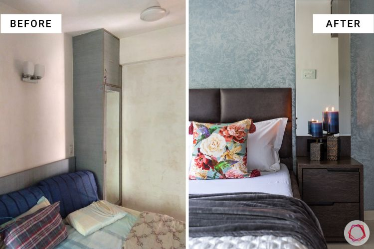 master bedroom-before after-renovation-dresser-mirror-veneer finish side table