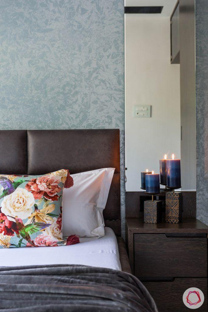 master bedroom-bed-upholstered headboard-bedside lamps-mirror