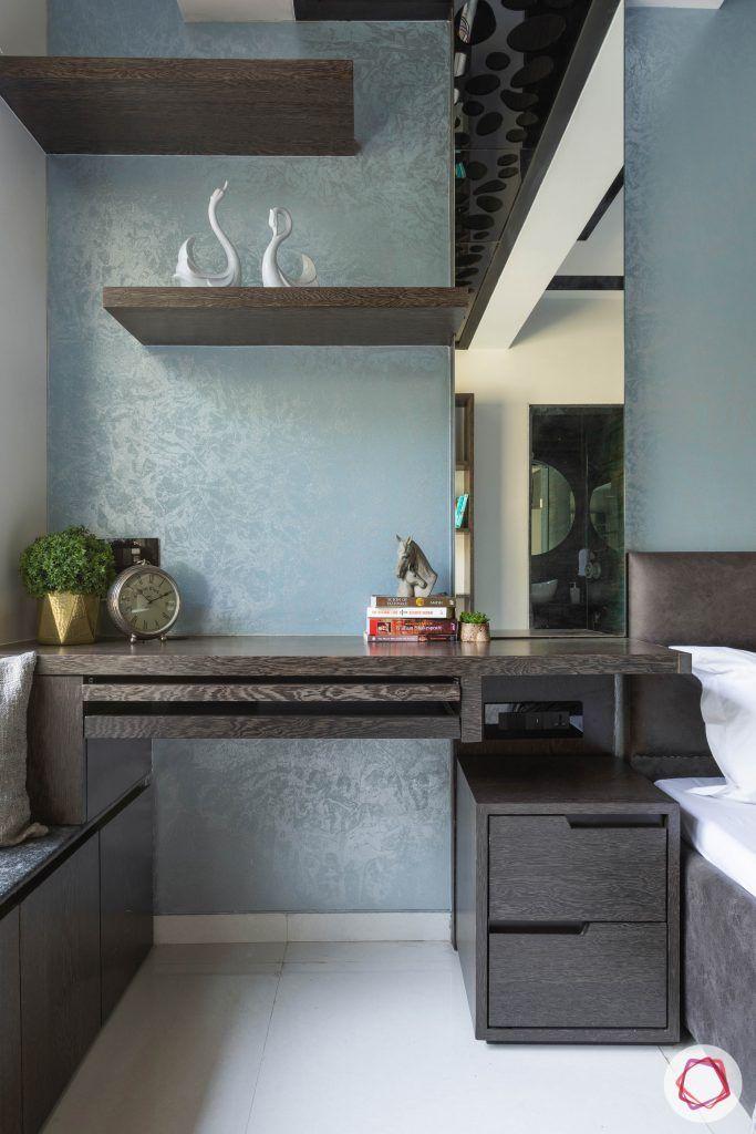 master bedroom-compact study table-wall display shelves-veneer finish