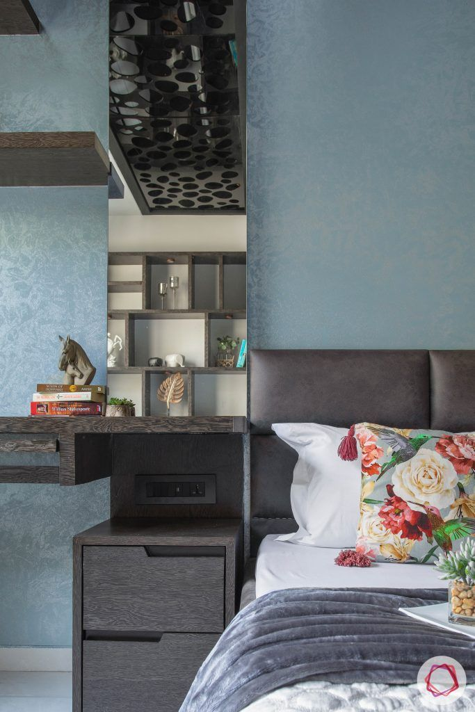 master bedroom-compact study table-wall display shelves-bedside mirror-veneer finish
