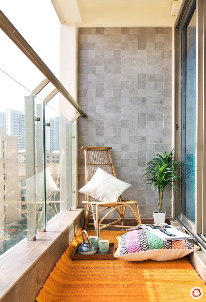 interior design questions-balcony-chair-tile-wall-rug-pillow-tea-set
