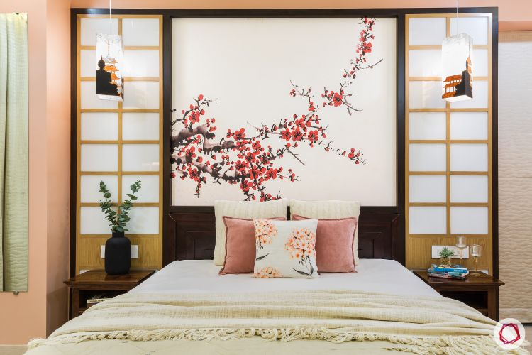 master-bedroom-cherry-blossom-wall-black-frame-wooden-frame-bed