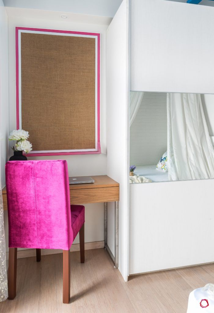 lodha-wadala-daughter-bedroom-white-wardrobe-pink-study-chair
