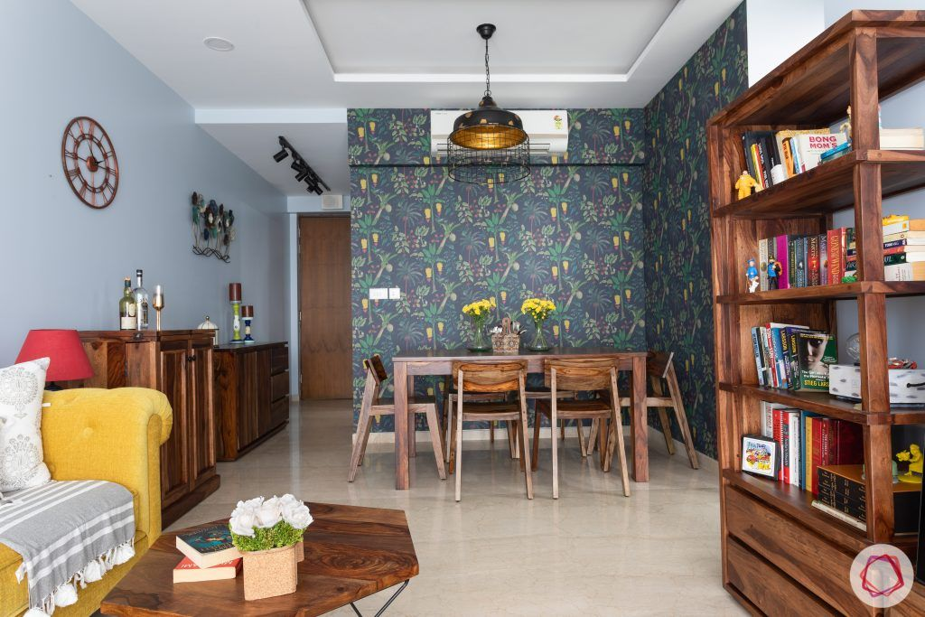 crescent bay-dining room-asian paints wallpaper-wooden dining table-wooden dining chairs