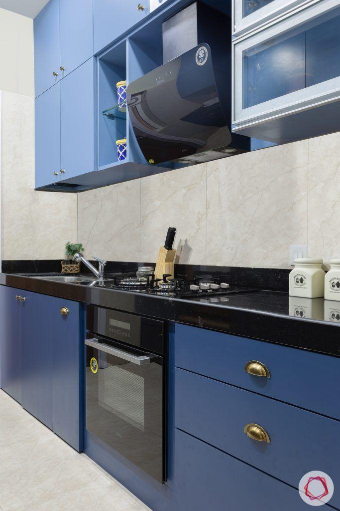 crescent bay-modular kitchen-blue cabinets-matte finish laminate-hob unit