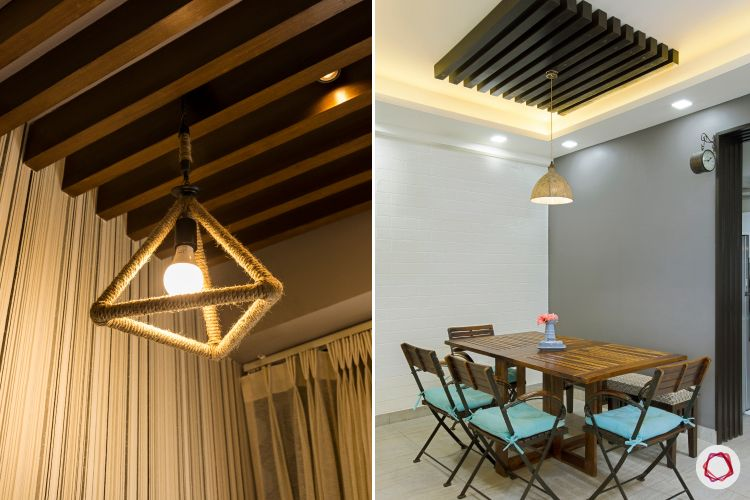 false ceiling ideas-wooden slats-wooden false ceiling-wooden rafters