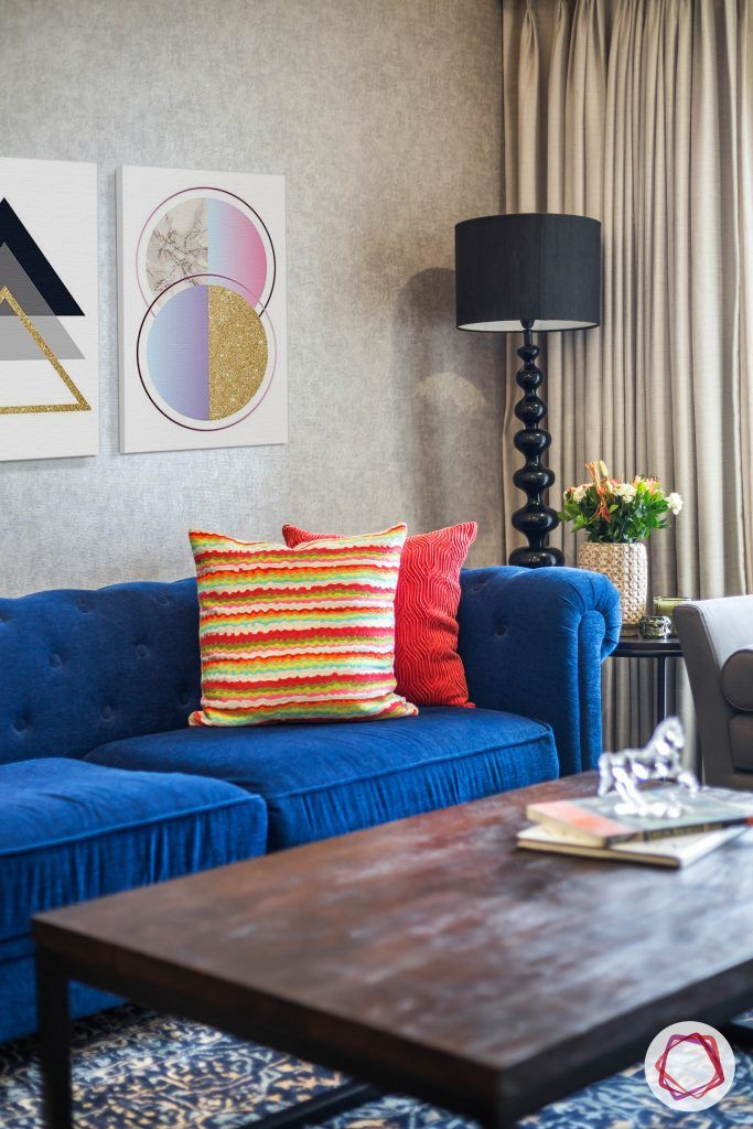 lodha group-living room designs-blue sofa designs-floor lamp for living room