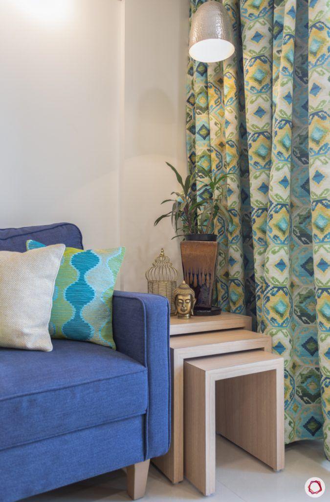 godrej homes-mumbai home-living room-side table-pendant light-printed curtains