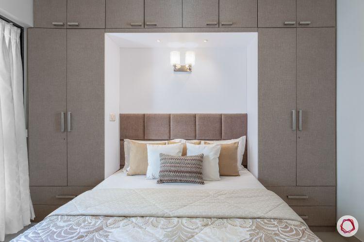 godrej homes-mumbai home-master bedroom-bed-wardrobes-lofts-laminate finish wardrobes