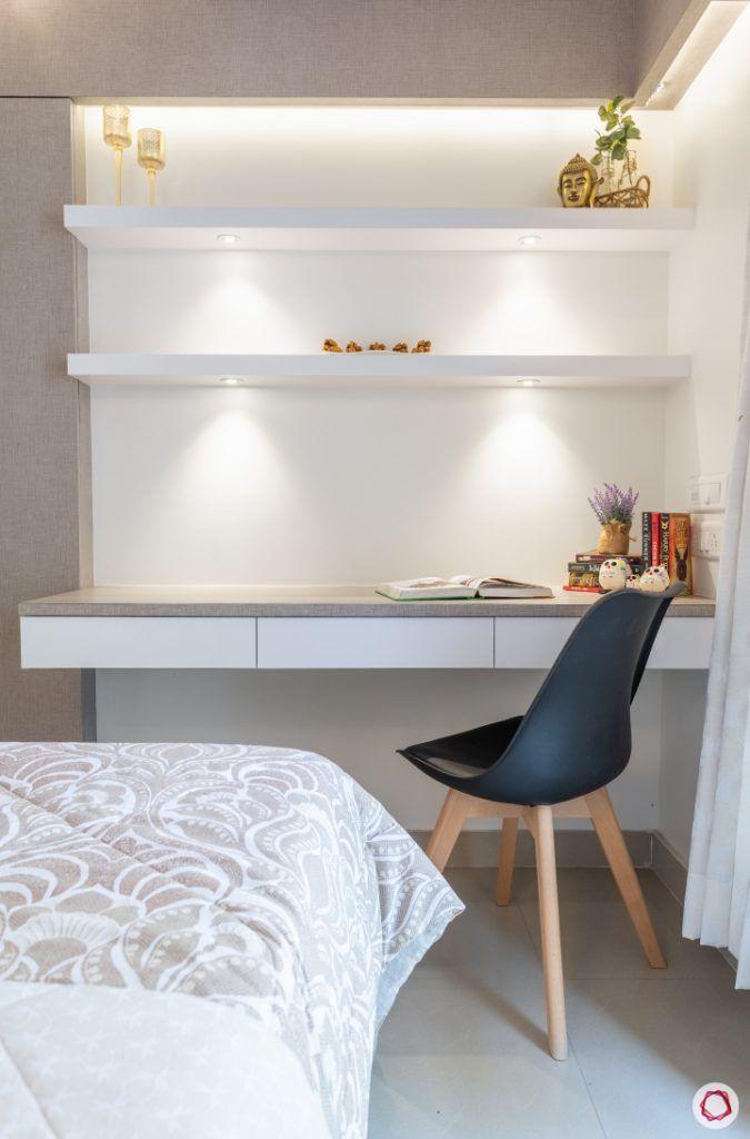 godrej homes-mumbai home-master bedroom-study table-concealed dresser-wall shelves