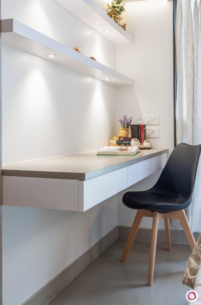 godrej homes-mumbai home-master bedroom-study table-chair-wall ledges-focus lights