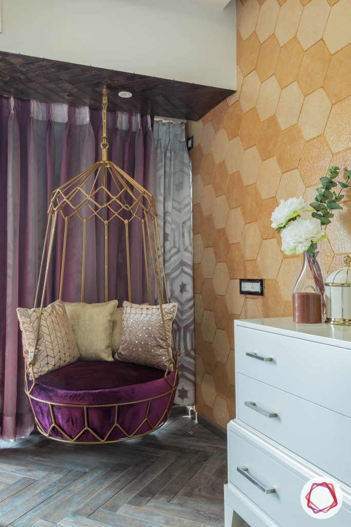 hexagonal-tile-accent-wall-niche-swing-seating