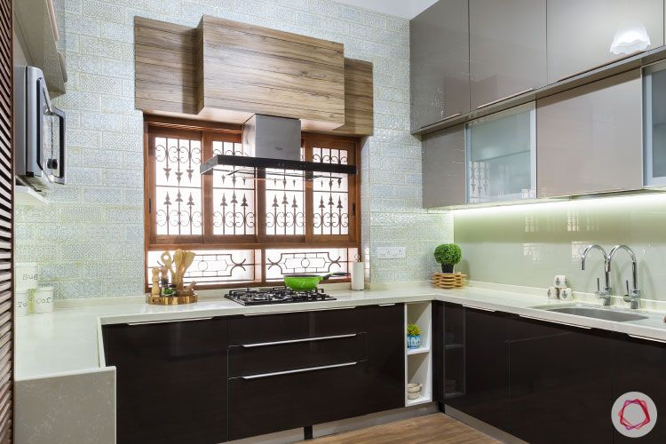 small kitchen design-grey-black-wood-lofts-cabinets-counter-window-profile-lights