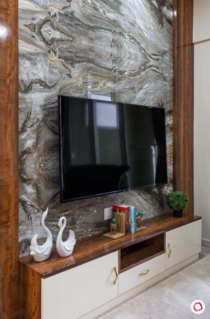 best interior designers in mumbai-living room-laminate tv unit-marble tiles-accent wall