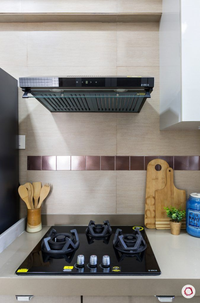 best interior designers in mumbai-kitchen-hob area-ductless chimney-gas stove