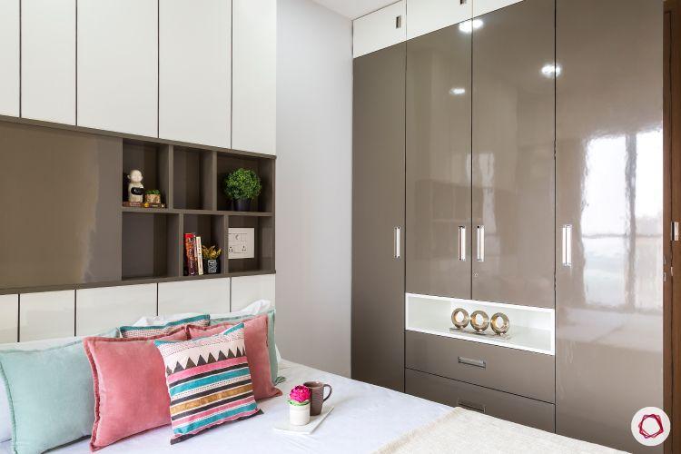 best interior designers in mumbai-guest room-laminate wardrobes-swing door wardrobe