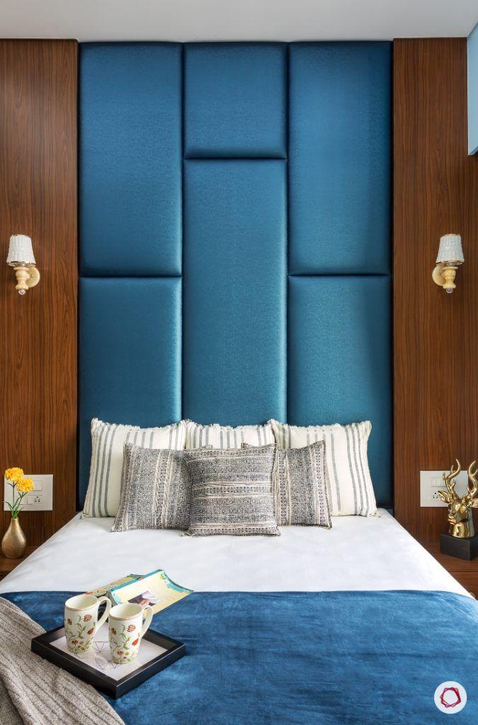 best interior designers in mumbai-parents room-full bed-upholstered headboard-blue headboard