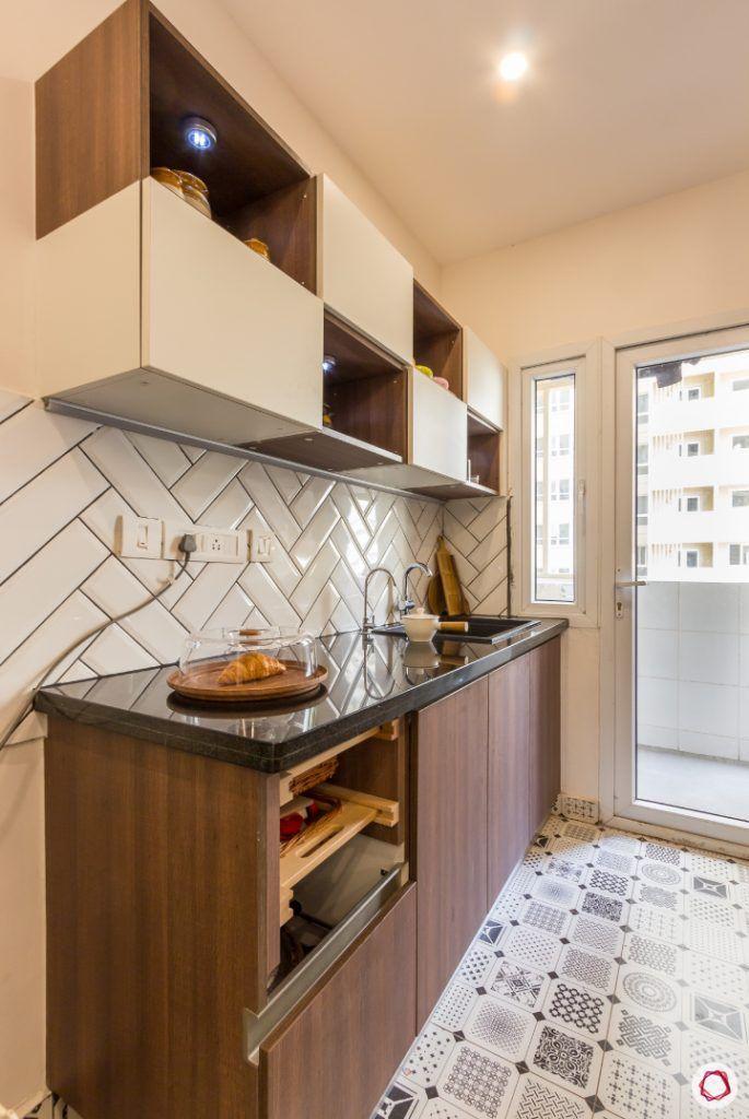 kitchen-floor-black-white-brown-cabinet-counter-wall-spotlight