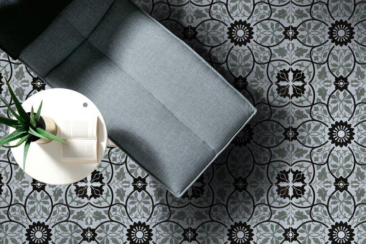 black-white-flooring-grey-sofa-white-table-plant-pattern-floor