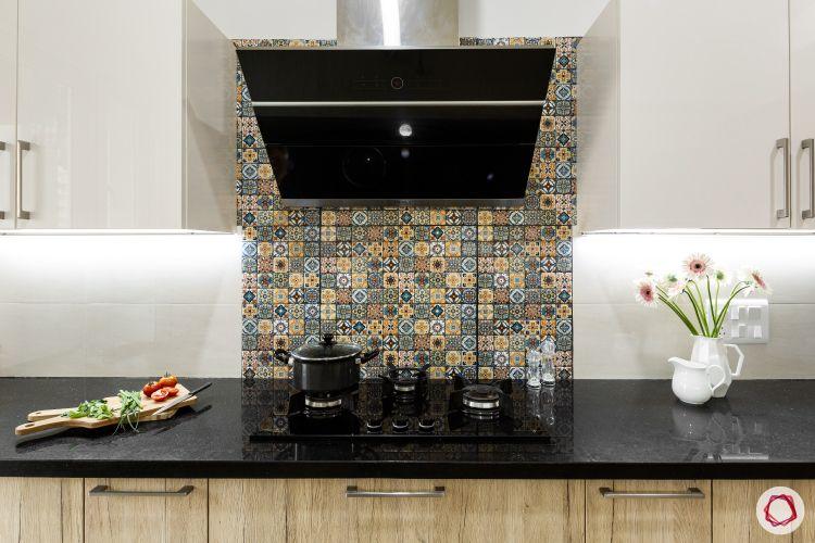 Porcelain Tile-kitchen-hob-chimney-patterned-white-brown-cabinets-flower