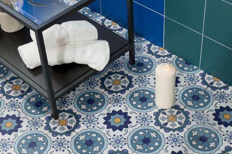 Porcelain Tile-bathroom-floor-pattern-blue-candle-towel-table-green-wall