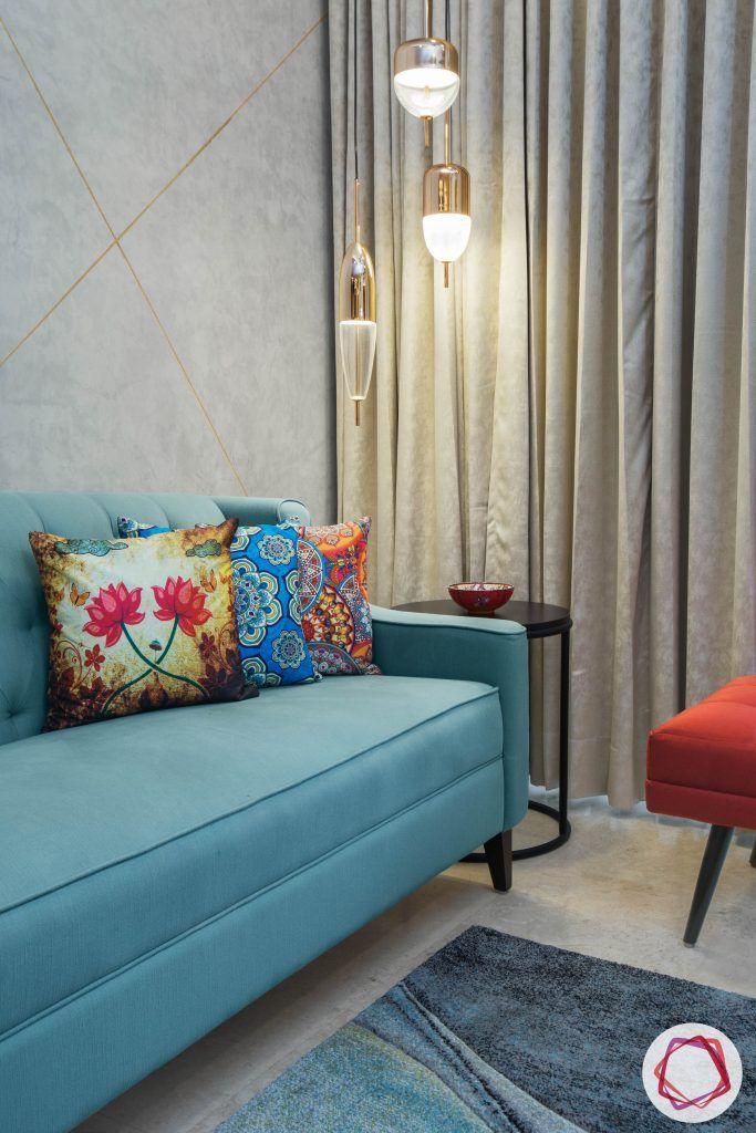 best interior designers in gurgaon-blue sofa designs-round side table designs
