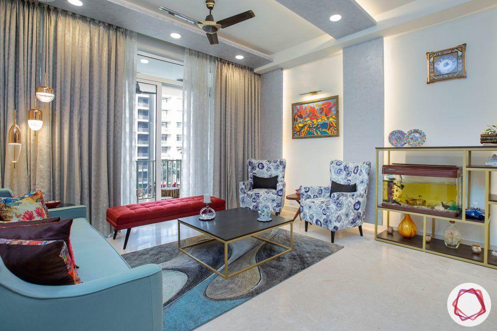 best interior designers in gurgaon-blue sofa designs-display unit designs