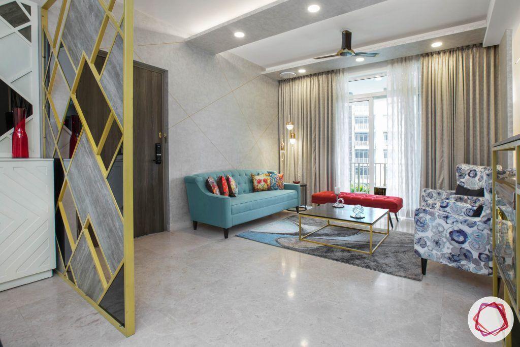best interior designers in gurgaon-blue sofa designs-partition designs