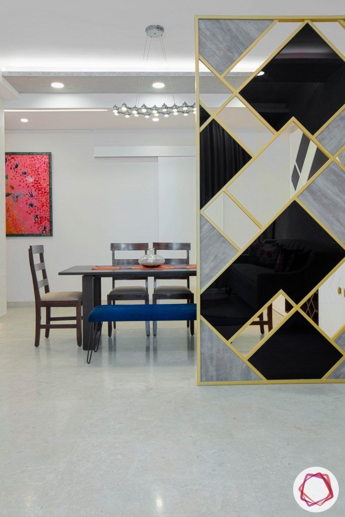best interior designers in gurgaon-partition designs-dining set with bench