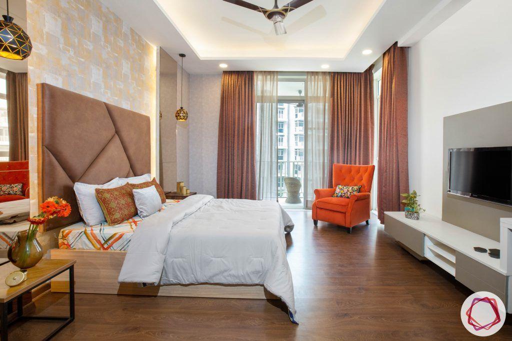 best interior designers in gurgaon-contemporary bedroom designs-orange armchair designs-headboard designs