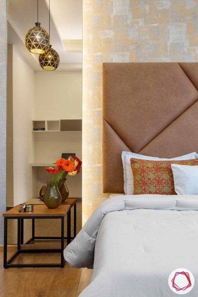 best interior designers in gurgaon-contemporary bedroom designs-tinted mirror panel-side table designs-black pendant light