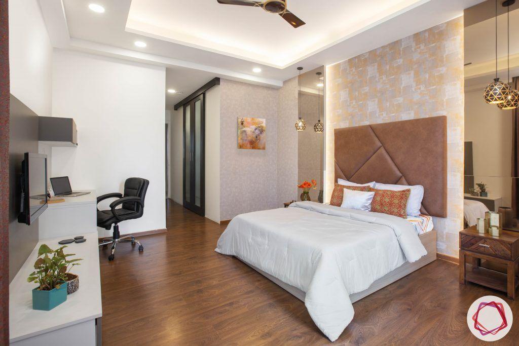 best interior designers in gurgaon-contemporary bedroom designs-headboard designs-media wall for bedroom-wooden flooring