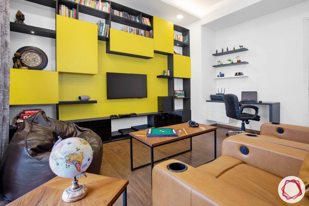 best interior designers in gurgaon-recliner designs-entertainment unit designs-brown bean bag