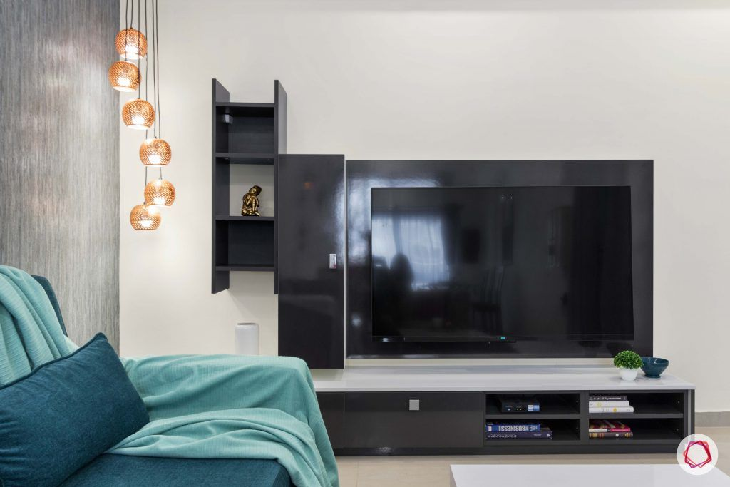 pendant lights for corner-ladder unit design-black tv unit