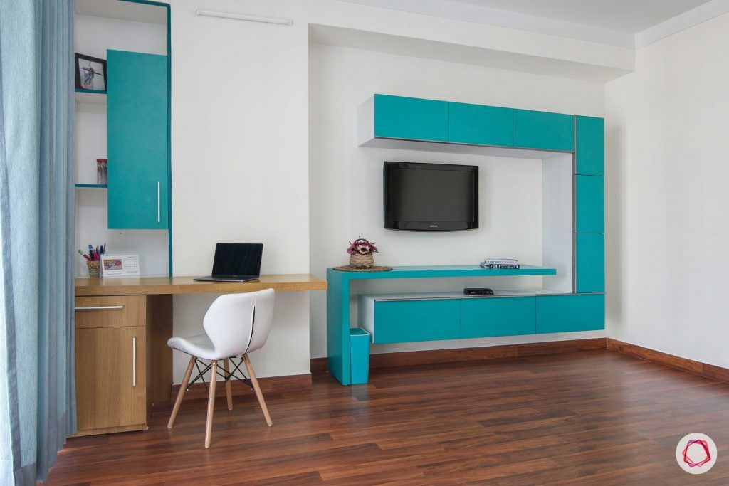 wooden flooring designs-blue tv unit designs