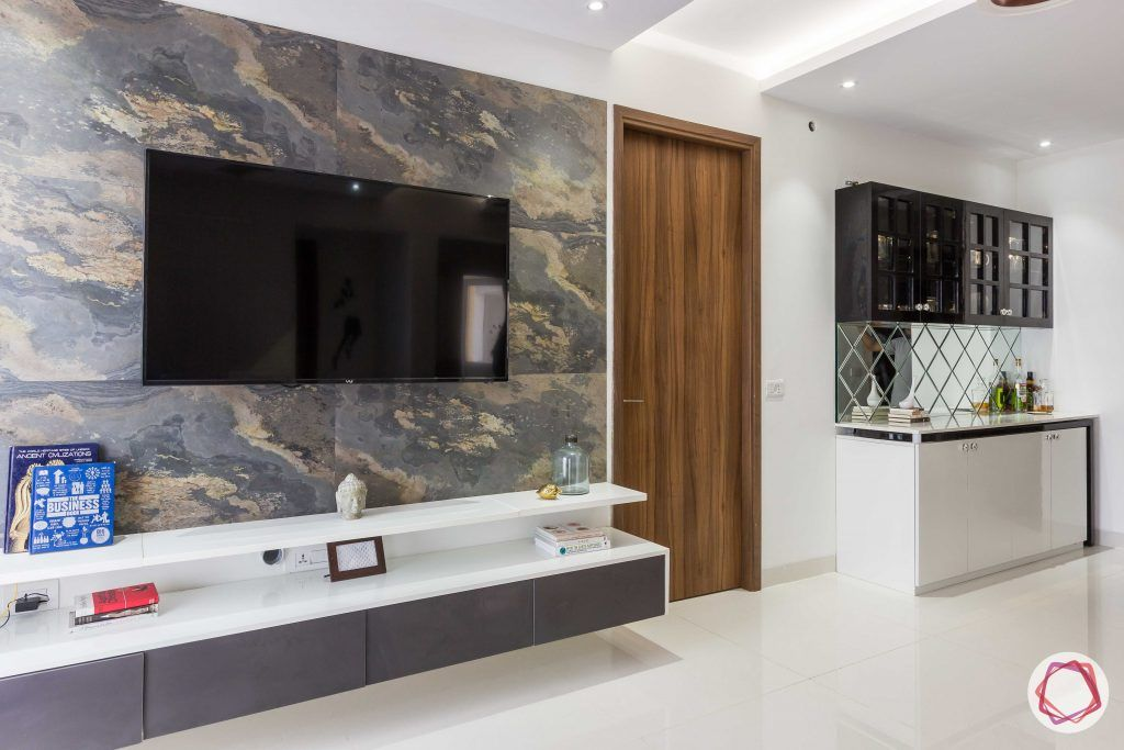 stone cladding-stone finish wall-wall mounted tv unit