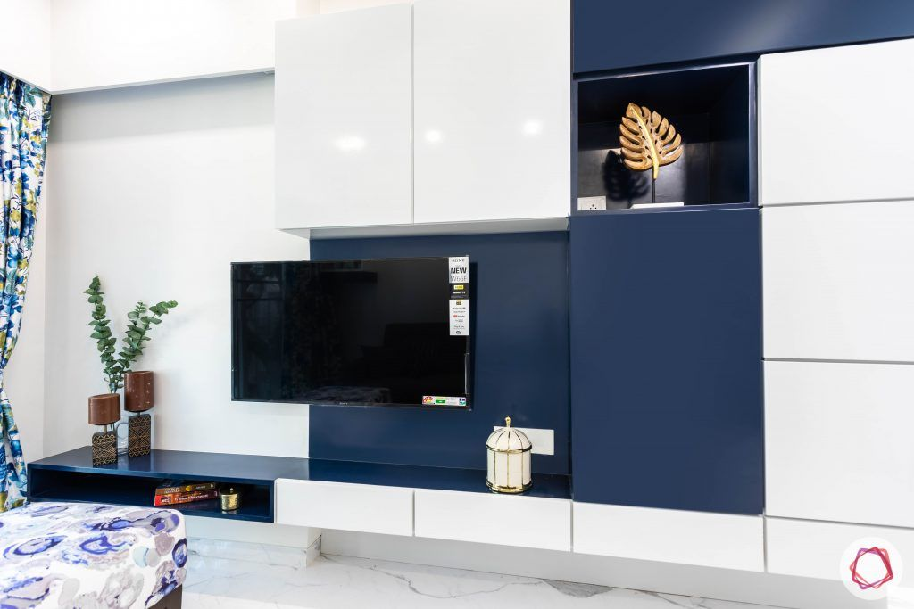 blue and white tv unit-storage cabinets-display shelf