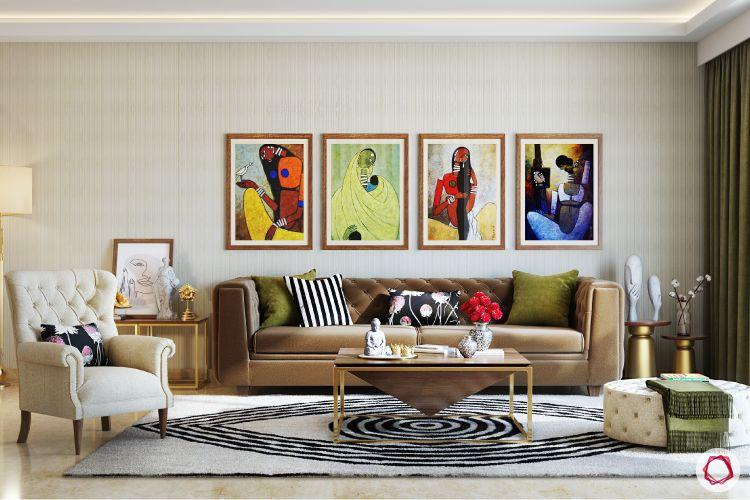 twinkle khanna interior-living-room-tufted-sofa-armchair-pouf-lamp-coffee-table-rug