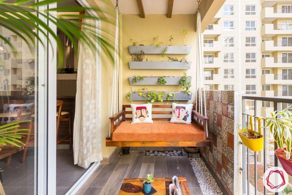 balcony seating ideas-swing designs- swings for balcony