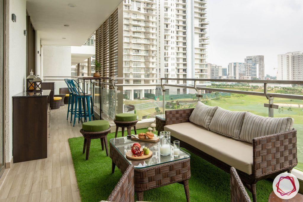 balcony seating ideas-high chairs for balcony-wicker sofa designs