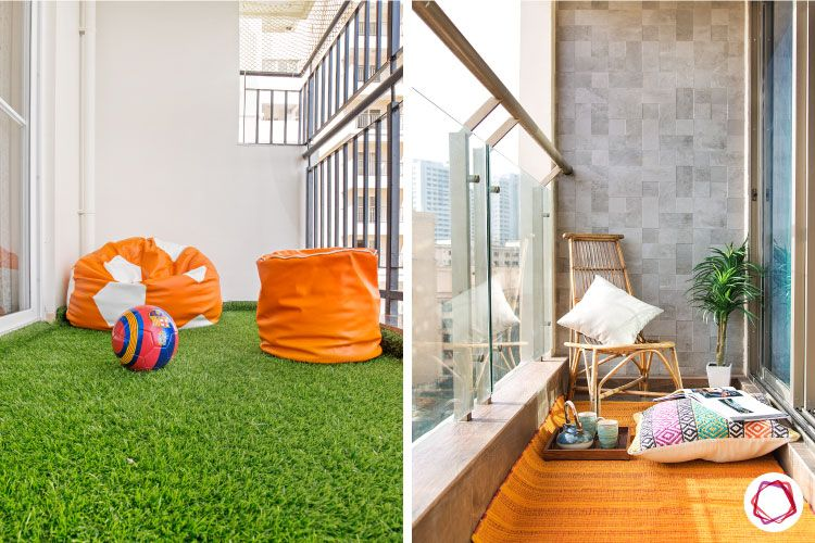 balcony seating ideas-artificial turfing for balcony-floor seating for balcony