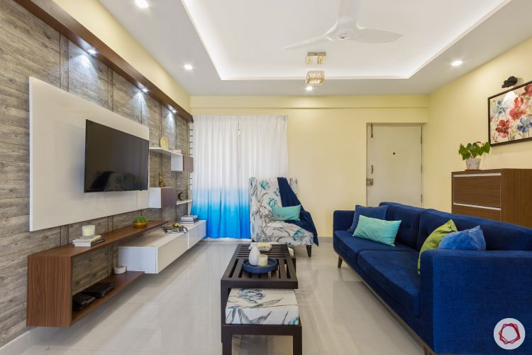 home bangalore-full home-entrance-false ceiling-blue sofa