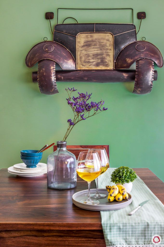 home bangalore-dining room-green wall-antique wall art