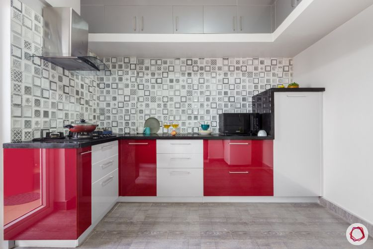 home bangalore-modular kitchen-red and white kitchen-tall unit