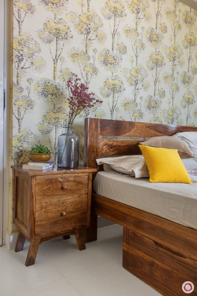 home bangalore-guest bedroom-full room design-wooden tones-floral wallpaper