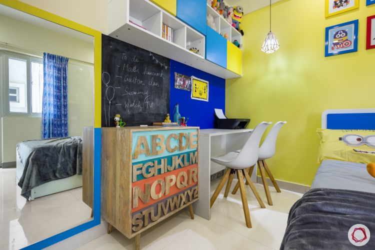 home bangalore-kids bedroom-minion theme-study table-dresser