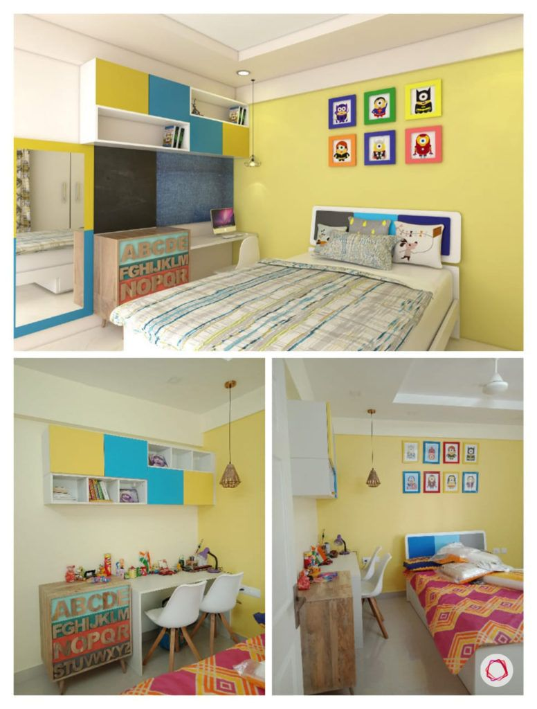 home bangalore-kids bedroom-minion theme-3d design-vray